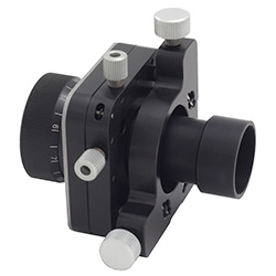 Optics tube threaded adapter mounted in 5-axis optical mount 5KOM5