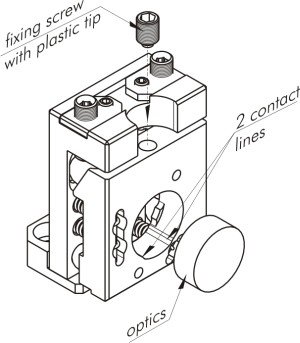 Vertical drive optical mount fixed with screw